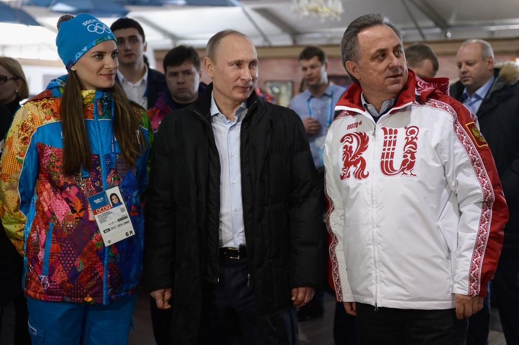 Елена Исинбаева, Владимир Путин и Виталий Мутко