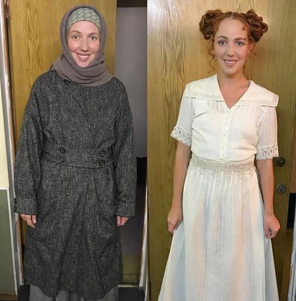 Галина Боб в образе Вари из «Вишневого сада» (слева), справа - Ирины из «Трёх сестёр»