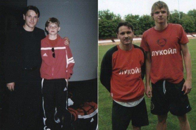 Дмитрий Тарасов с тренером в детстве и сейчас